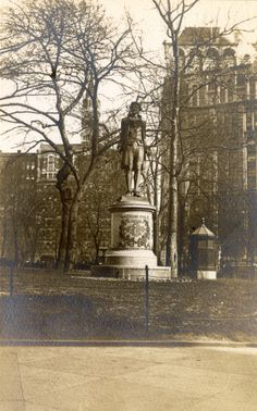 June 6, 1755: Birthday of Nathan Hale, Continental Army soldier during the American Revolutionary War. During an intelligence-gathering mission in New York City, he was captured by the British and executed.  Statue in City Hall Park, photograph by Charles Gilbert Hine, 1893-1908, PR 082.  New-York Historical Society, 88302d.
