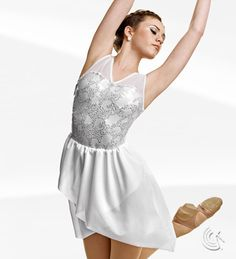 Curtain Call Costumes® - Angels Among Us White nylon/spandex and mesh leotard with attached sequin embroidered mesh bodice overlay and crepe skirt. INCLUDES: thin headband with rhinestone inset. https://curtaincallcostumes.com/products/product-page-t.php?prodid=7579