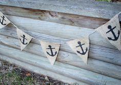 Nautical Anchor Burlap Banner. $13.00, via Etsy.