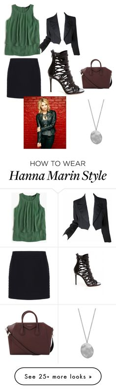 """Hanna Marin Outfit"" by jessicaloredana on Polyvore featuring J.Crew, Yves Saint Laurent, Balenciaga, Givenchy and Karen Kane"