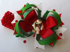 Christmas Snowman Handmade Boutique Hair by JustinesBoutiqueBows