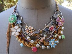 Bib Statement Necklace Vintage Enamel Flower Necklace - It's A Spring Fling Thing. $159.00, via Etsy.