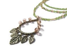 Multi-Strand Rose Quartz and Peridot Metal Leaves Pendant Long Necklace Layered Necklace Gold Pink Green Beadwork Necklace Pendant Necklace  - pinned by pin4etsy.com