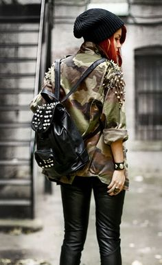 Grunge Studded Backpack - http://ninjacosmico.com/18-must-have-grunge-accessories-clothing/