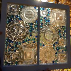 Old glass plates glued to old windows beautiful vintage plate decorative glass windows nhyardsale Sea Glass Art, Glass Wall Art, Mosaic Art, Mosaic Glass, Window Art, Window Glass, Painting On Glass Windows, Window Frames, Glass Door