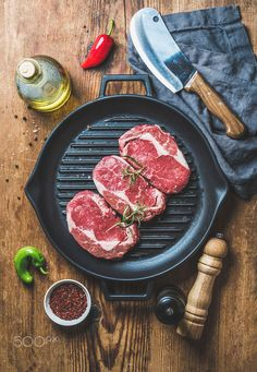 Ingredients for cooking Rib eye roast beef steak in pan by Anna Ivanova on 500px