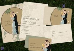 Vintage Wedding Invitations Save the Dates Art Deco by GoGoSnap, $90.00