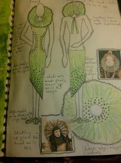 Project: Fruit & Vegetables A dress design inspired by Kiwi Fruit and Elizabethan ruffs