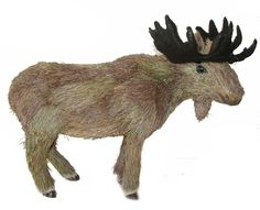 "Amazon.com: Custom & Unique {13"" x 16""} 1 Single, Large Home & Garden ""Standing"" Figurine Decoration Made of Grade A Wood & Straw w/ Natural Realistic Standing Moose Style {Black & White}: Home & Kitchen"