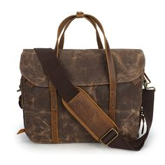 Waxed canvas briefcase with leather trim and space for a laptop. Water-resistant and functional.Dimensions: x x Coffee, army green, grey Cheap Crossbody Bags, Canvas Handbags, Waxed Canvas, Laptop Bag, Briefcase, Luggage Bags, Army Green, Vintage Men, Leather Bag