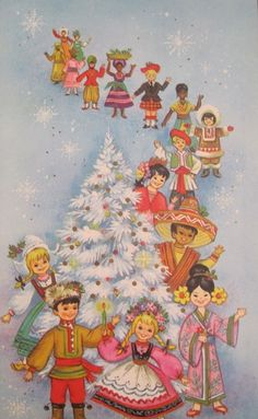 vintage children of the world xmas card