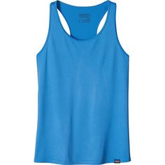 Patagonia Womens Capilene Daily Tank - XS - Radar Blue - Shirts ($25) ❤ liked on Polyvore featuring activewear, activewear tops, blue, moisture wicking shirts, sweat wicking shirts, regular fit shirts, patagonia sportswear and workout shirts