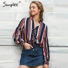 Simplee кружева шифон блузка рубашка Сексуальная v шеи фонарь рукав рубашки женщины Зима 2016 прохладный блузка в полоску blusas купить на AliExpress