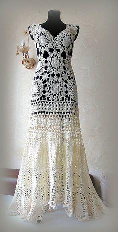 Unique Wedding dress Hand Crochet lace Bridal gown Beach | Etsy Lace Fishtail Wedding Dress, Hi Low Wedding Dress, Crochet Wedding Dresses, Crochet Beach Dress, Wedding Dresses For Girls, Bridal Lace, Crochet Lace, Bridal Gowns, Hand Crochet