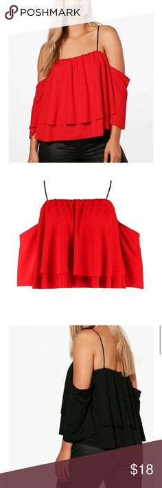 BOOHOO double layer ruffle top BOOHOO PLUS red double layer ruffle top. US size 12, UK size 16. This will fit a US size 12-14, even if you are busty. Beautiful red color. 95% polyester and 5% elastane. Off the shoulder and has thin black spaghetti straps attached! Boohoo Plus Tops Crop Tops
