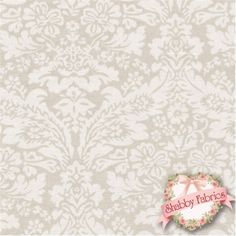 """Wildflowers 757-NE by Rachel Ashwell for Treasures by Shabby Chic: Wildflowers is a beautiful collection by Rachel Ashwell for Treasures by Shabby Chic.  100% cotton, 44""""/45"""" wide.  This fabric features a tonal tan damask."""