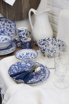 Mixing blue and white floral tabletop, as seen in Ralph Lauren's Home Elizabeth Street collection, now available for pre-order