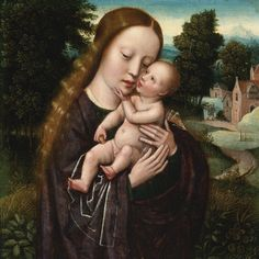 Madonna and Child. Oil on panel. 14.5 x 14.5 cm. Art by Ambrosius Benson.( late 15th century - before 1550 ).