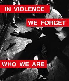 Barbara Kruger_In Violence We forget Who We Are. Barbara Kruger Art, Bro Strider, Dennis Reynolds, Film Reels, Light Film, Two Faces, Dark Ages, Gotham, Literature