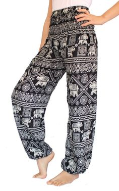 66aef47e4ba Women s Smocked Waist Harem Hippie Boho Yoga Palazzo Casual Pants (XXL