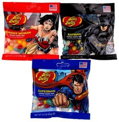 Jelly Belly Superhero Mix Batman Superman Wonder Woman Lot 3 Bags 2.8oz Made US - FUNsational Finds - 1