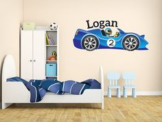 Items similar to Boys Custom Race Car Name Monogram Decal Nursery Room Vinyl Wall Decal Graphics Boys Baby Bedroom Home Decor on Etsy Monogram Wall Decals, Nursery Monogram, Custom Wall Decals, Baby Bedroom, Nursery Room, Boy Room, Bed Styling, Interior Walls, Kid Beds