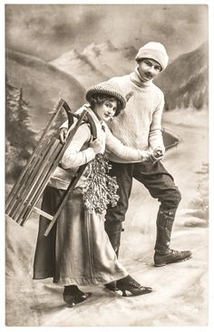 Happy young couple outdoors with sledge. Vintage Christmas picture with original film grain and blur Scan from very rare original postcard Vintage Cards, Vintage Postcards, Vintage Photos, Retro Pictures, Christmas Pictures, Christmas Ideas, Young Couples, Edwardian Fashion, My Collection