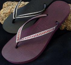 Sophisticate Havaianas Slim Burgundy Wine Maroon Plum Purple EggPlant Aubergine Grape Cyclamen Opal Bling Crystal Flip Flops US 4-9 Shoes