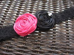 Hot Pink and Black Satin Rosettes on Black Lace Baby Headband - Infant, Toddler, Newborn Headband, Girl's Hair Accessory. $9.00, via Etsy.