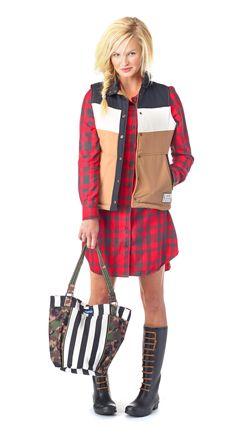 Kavu - Ladies' Jurnee dress paired with the Blanche vest Fall Winter 2015, Autumn Winter Fashion, Winter Style, Flannel Dress, Shirt Dress, Outdoor Brands, Dress Shirts For Women, Button Down Dress, Dress Making