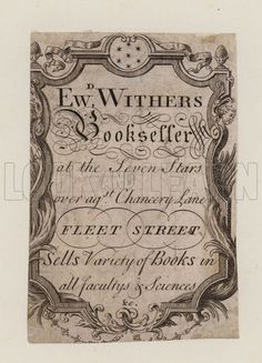 Booksellers, Edward Withers, trade card.