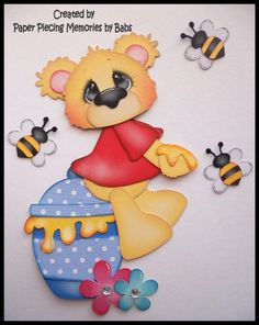 Honey Bear Set Premade Paper Piecing for Scrapbook Pages by Babs #Unbranded
