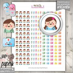 Medical Stickers, Planner Stickers, Doctor, Appoinment, Pills, Health, Kawaii Stickers, Planner Accessories, Erin Condren