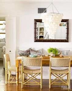 Glam pearly shell white theme in a dinging room: http://beachblissliving.com/paint-color-schemes-ideas/