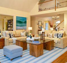 {Beach Cottage Decor} Nautical Living Room Ideas | Beach House DecoratingBeach House Decorating