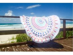 Round Beach Towels | Hot Beach Accessories | Summer Fashion | Round Towel | Circle Towel | Cotton Towels | Round Beach Towel with Tassels | Aqua Round Towel |