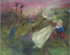 Bride and groom by a creek, by Arthur Boyd, Oil on composition board. Australian Painting, Australian Artists, Arthur Boyd, Art Pages, Impressionism, Painting & Drawing, Landscape Paintings, Art Gallery, Canvas
