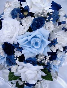 blue silver wedding flowers | Our full selection of quality Silk Wedding Flowers are available in a ...