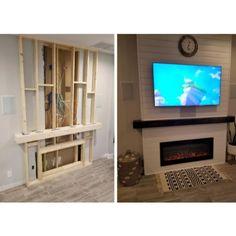 Fireplace Gallery, Fireplace Tv Wall, Basement Fireplace, Build A Fireplace, Fireplace Built Ins, Bedroom Fireplace, Fireplace Remodel, Living Room With Fireplace, Fireplace Design