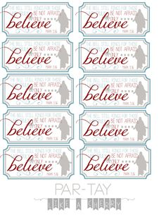 free printable polar express party favor bell tags, attach to bell for the perfect christmas favor