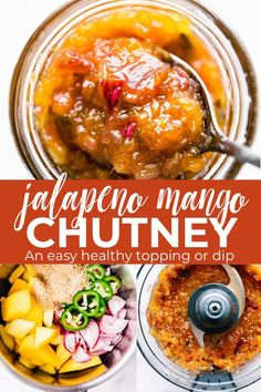 Jalapeño Mango chutney is a delicious, gluten free condiment that can be enjoyed any time of the day. A great way to utilize any extra produce you already have in your fridge! This chutney recipe is sweetened with mango and unrefined sugars, making i Curry Recipes, Vegan Recipes, Cooking Recipes, Paleo Vegan, Ketchup, Sauce Steak, Grilled Ham And Cheese, Freezer Jam Recipes, Sauce Barbecue