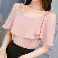 Blouse Styles, Blouse Designs, Tops Vintage, Chiffon Shirt, Lace Chiffon, White Chiffon, Print Chiffon, Ruffle Blouse, Women's Summer Fashion