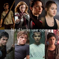 Top Row (left to right)- Newt- the maze runner, Hermione- Harry Potter, Katniss- the Hunger Games, Tris- divergent Bottom Row (left to right) Thomas- the maze runner, Peeta- the Hunger Games, (dunno who this is), Brenda- the maze runner
