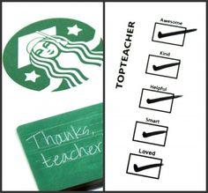 Starbucks teacher gift card thank you coffee cup printable