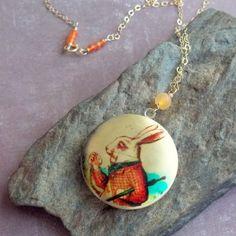 White Rabbit Locket Necklace--sold