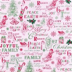 green red christmas toile fabric