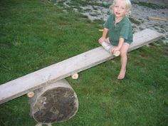 Easy way to make a teeter totter with natural materials