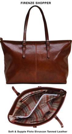 Women's Firenze Full Grain Leather Shopper Tote Bag – Floto