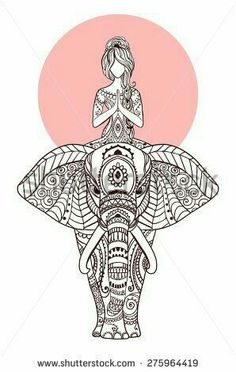 Ornament beautiful card with Vector yoga Geometric element hand drawn Perfect cards for any other kind of design birthday and other holiday kaleidoscope medallion yoga india arabic Elephant Art, Elephant Tattoos, Yoga Kunst, Coloring Books, Coloring Pages, Colouring, Elefante Hindu, Yoga Art, Mandala Design