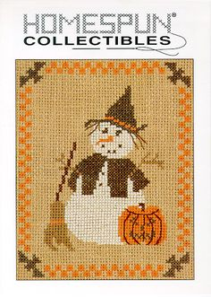 What fun! Stitch up this witch snowman with only 5 colors of floss. Stitched on 7 count Klostern fabric by WIchelt Imports, the stitch count is
